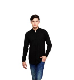 Dennis Lingo Solid Casual Black Shirt