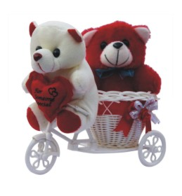 Special love Couple teddy Basket Showpiece Gift Set