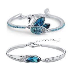 Crystal Cubic Zirconia Platinum Bracelet Set