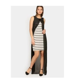 Nineteen Women White & Black Striped Shift Dress