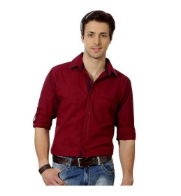 Suspense Men Casual Maroon Shirt